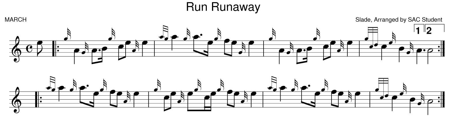 All Music Chords runaway sheet music : Bagpipe Music | PCS Pipe Band