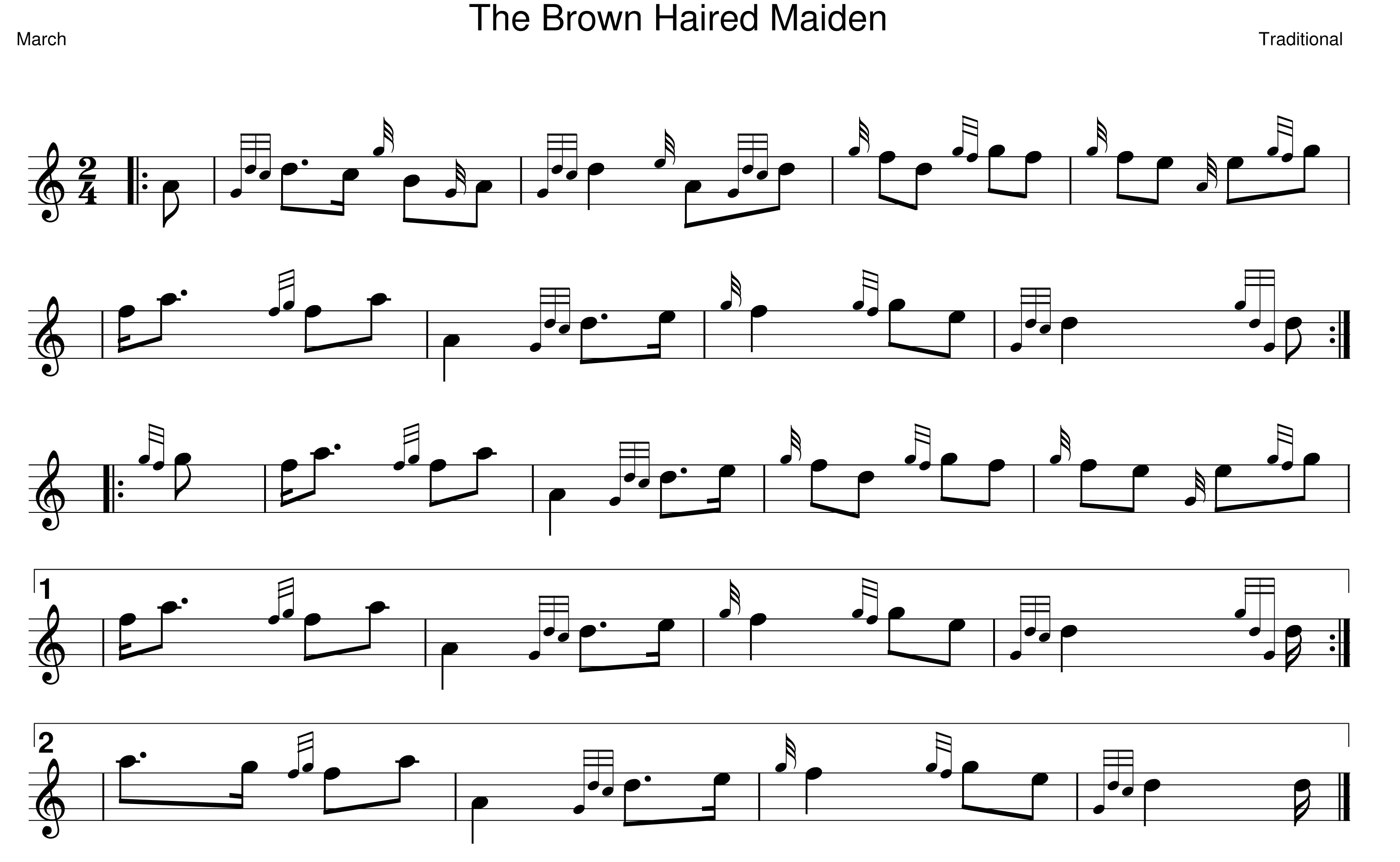 Brown Haired Maiden Bagpipe Sheet Music - Bagpipe Lesson